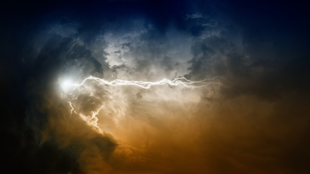 Apocalyptic background - flash and lightning in dramatic dark sky Stock Photo - 11253535