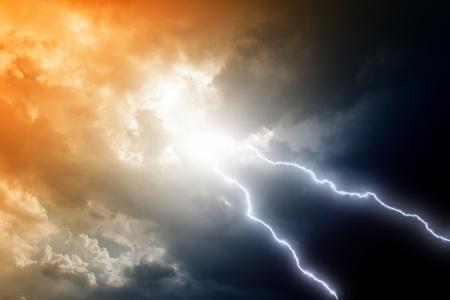 lightnings: Dramatic background - two lightnings in dark stormy sky