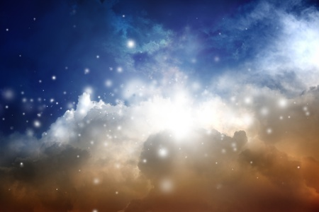 Abstract magic background - beautiful clouds, dark blue sky. photo