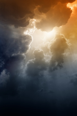 Armageddon background - dramatic dark sky, bright sun. Mayan apocalypse 2012, Nostradamus armageddon 2012, armageddon bible photo