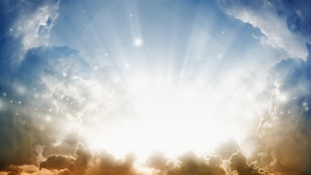 hope: Peaceful background - sunshine from heaven. Stock Photo
