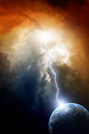 nostradamus: Armageddon background - planet Earth in space. Climate change, mayan apocalypse 2012, Nostradamus armageddon 2012, armageddon bible Stock Photo