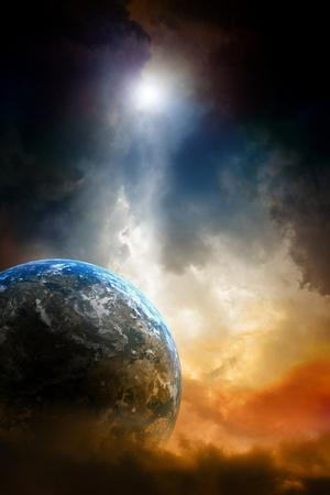 Armageddon background - planet earth in dark sky. Stock Photo
