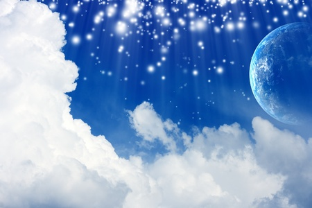peaceful background: Peaceful background - planet Earth in blue sky with white clouds