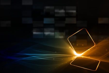 streaming: Technological background - abstract mobile device with transparent touch-sensitive screen