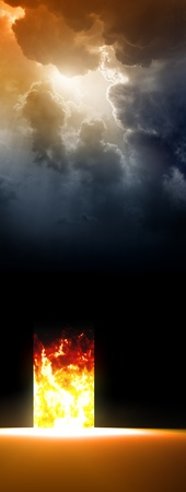 apocalypse: Abstract doorway to hell, red hot fire, bright sun from dark sky Stock Photo