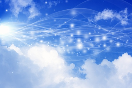 Abstract background with blue sky, bright sun, white clouds - heaven Stock Photo - 12136299