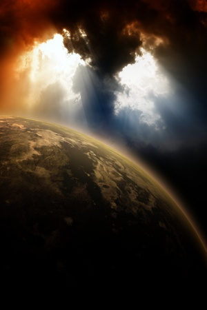Apocaliptic background - planet in dark sly, light from above Stock Photo - 12522526