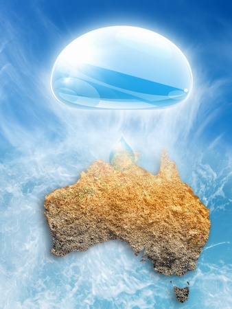 dryness: Abstract picture of Australia, big water drop. Drought in Australia, global warming.