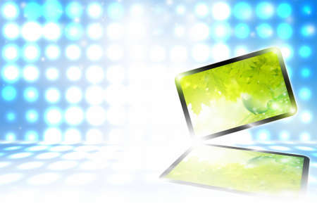 Abstract tablet PC on blue background with bright lights photo