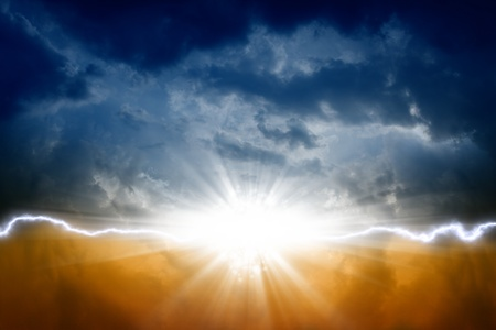 Dark sky with bright sun and lightning Stock Photo - 12522599