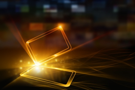mobile device: Technologische achtergrond - abstract mobiel apparaat met transparante touchscreen