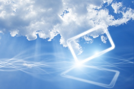 Technology background - concept of cloud computing  Abstract tablet PC in blue sky with white clouds