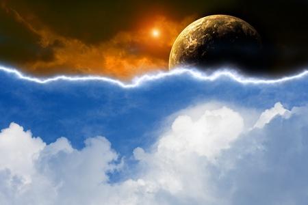 Résumé planète dans le ciel lumineux et sombre avec foudre