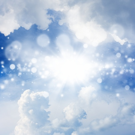 magical background: Peaceful background - bright sun, blue sky, white clouds - heaven Stock Photo