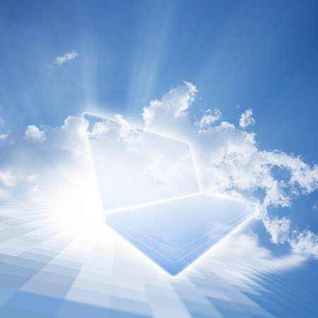computing device: Abstract technological background - cloud computing  Netbook in blue sky with white clouds and sun