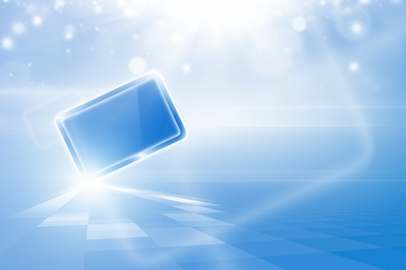 Abstract tablet PC, pad in blue sky with bright sun photo