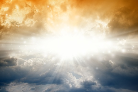 holy bible: Beautiful background - bright sun in dark sky