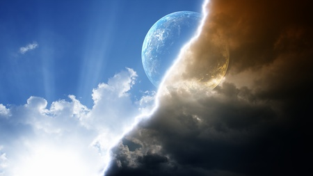Abstract planet in bright and dark sky with lightning Stock Photo - 12907594