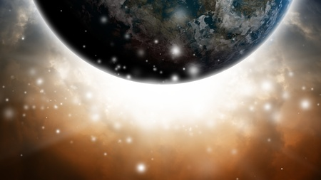 Abstract planet like earth in dark sky with bright light Stock Photo - 12907596