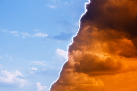 Religious abstract background - dark red and bright blue sky, heaven and hell, good vs evil photo