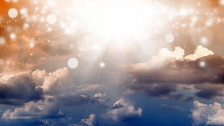 heaven and hell: Wide abstract background - dark sky, bright light from above