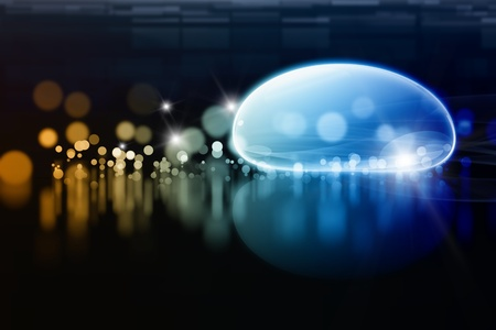 blue sphere: Abstract background - bright lights, water drop Stock Photo