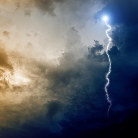 mystery of faith: Dramatic background - dark stormy sky, lightning Stock Photo
