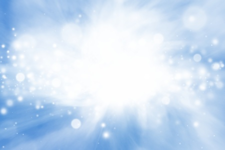 Peaceful background - bright sun, blue sly, white clouds - heaven Stock Photo