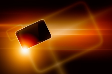 Abstract tablet PC, smartphone on dark background with bright light Stock Photo - 13424420