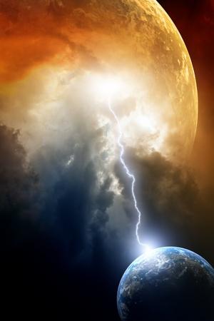 moody sky: Big pianeta rosso attacca piccolo pianeta Terra