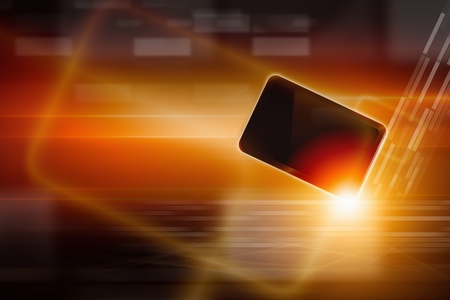 overheating: Abstract tablet PC, smartphone on dark background with bright light  Overheating problem  Stock Photo