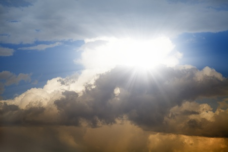 Peaceful background - bright sun in sky Stock Photo - 13609826