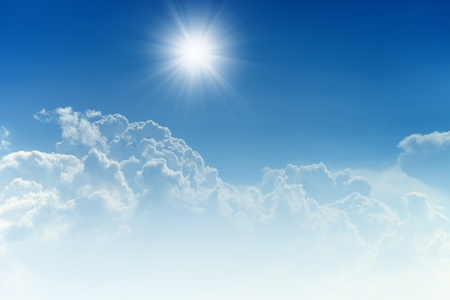 bible backgrounds: Peaceful background - bright sun, blue sky, white clouds - heaven Stock Photo