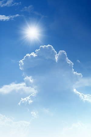 tranquil atmosphere: Peaceful background - bright sun, blue sky, white clouds - heaven Stock Photo