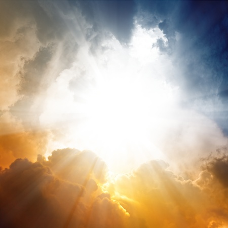 holy bible: Beautiful background - sunset sky, bright sun shines through clouds