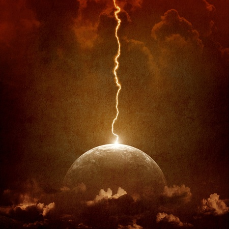 Grunge background - big lightning hit planet Earth in dark dramatic sky photo