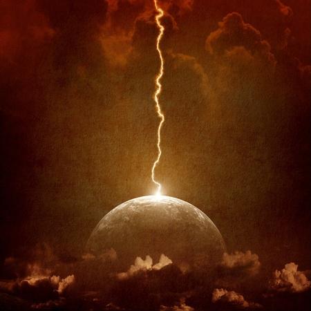 Grunge background - big lightning hit planet Earth in dark dramatic sky