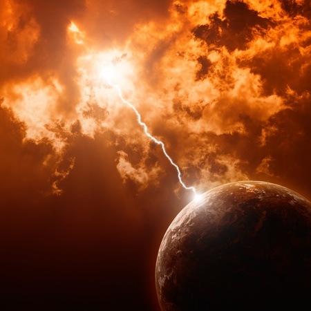 end of the world: Big lightning hit planet Earth in dark red dramatic sky