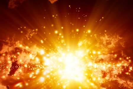 Fantastic abstract background- big explosion in sky Stock Photo