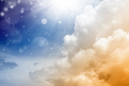 Abstract beautiful background - bright sun from above, blue sky - heaven Stock Photo - 13966547