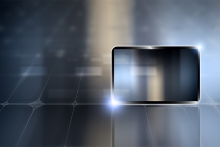Abstract tablet PC, smartphone on dark background photo