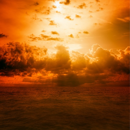 apocalypse: Dramatic background - red sky, dark sea  Global warming  Stock Photo