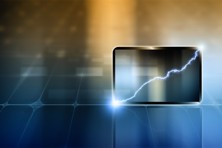 Abstract tablet PC, smartphone. Lightning - concept of success, progress, improvement. Stock Photo - 14122261