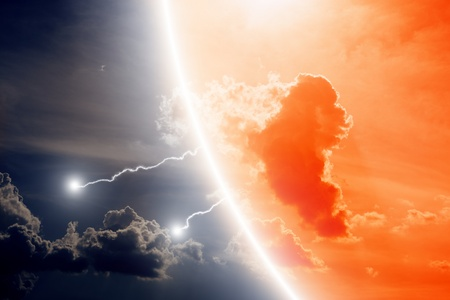 Dramatic background - lightnings in dark sky Stock Photo - 14216714