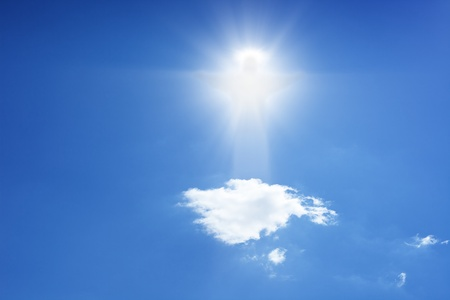 god icon: Jesus Christ in blue sky with white clouds - heaven