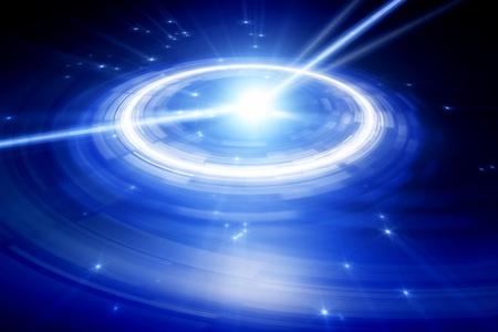 Аннотация иллюстрации большие синие часы в темном пространстве