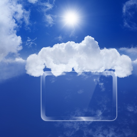 Technology background, cloud computing, augmented reality, abstract smartphone, multimedia gadget photo