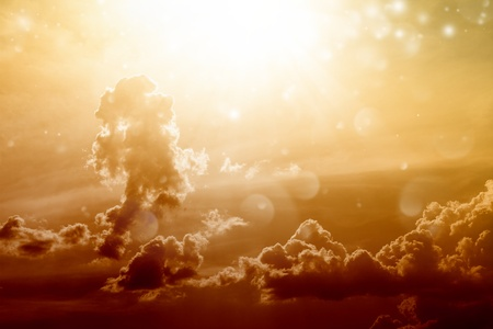 heaven and hell: Beautiful sunset background - bright sun shines from above, red clouds
