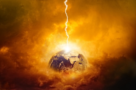 end of the world: Scientific background - planet Earth in danger, struck by big lightning. Elements of this image furnished by NASA Stock Photo
